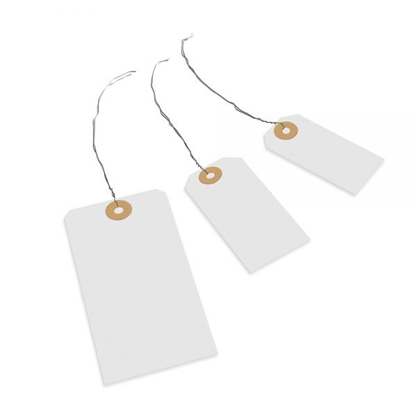 Transpal 82 x 41mm White Wired Tags